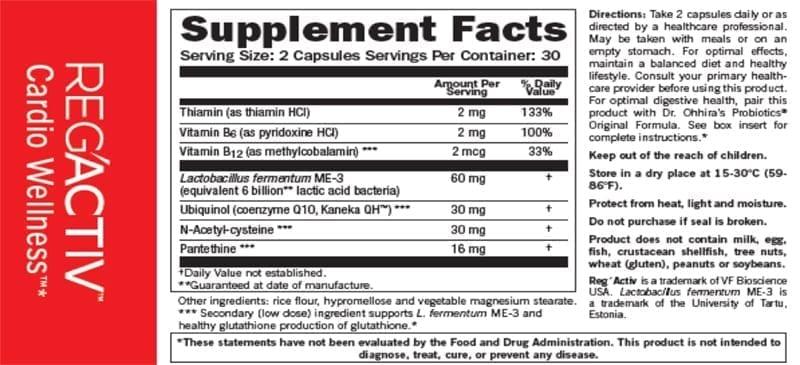 Regactive Supplement Facts