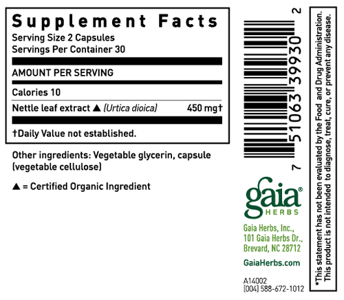 Gaia Herbs Nettle Leaf Sup Facts