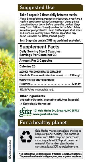 Gaia Herbs Rhodiola Rosea Sup Facts