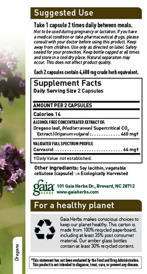 Gaia Herbs Oil of Oregano Sup Facts