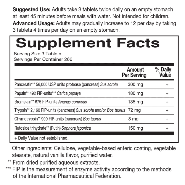 Wobenzyme N by Garden of Life Supplement Facts