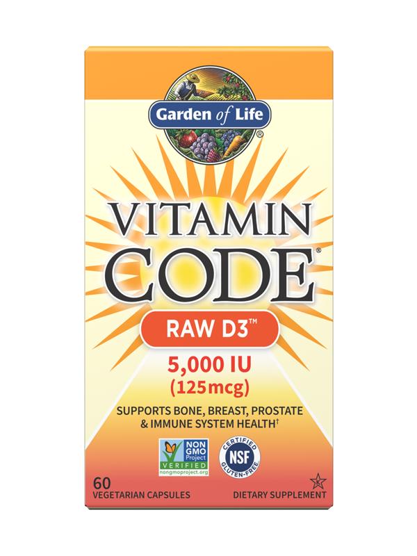 Garden of Life Vitamin Code RAW D3 5,000 IU, 60 Caps