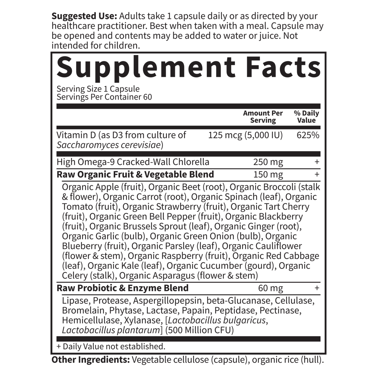 Garden of Life Raw d3 Sup Facts