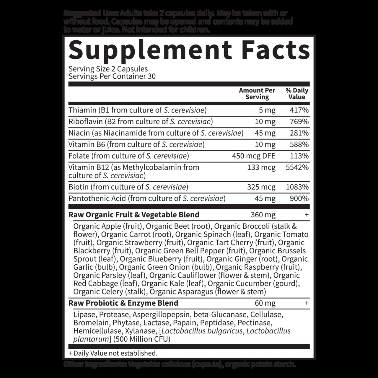 Garden of Life Raw B-Complex Supplement Facts
