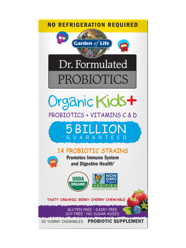 Garden of Life Dr. Formulated Probiotics Organic Kids+ Shelf-Stable Berry Cherry 30 Chewables