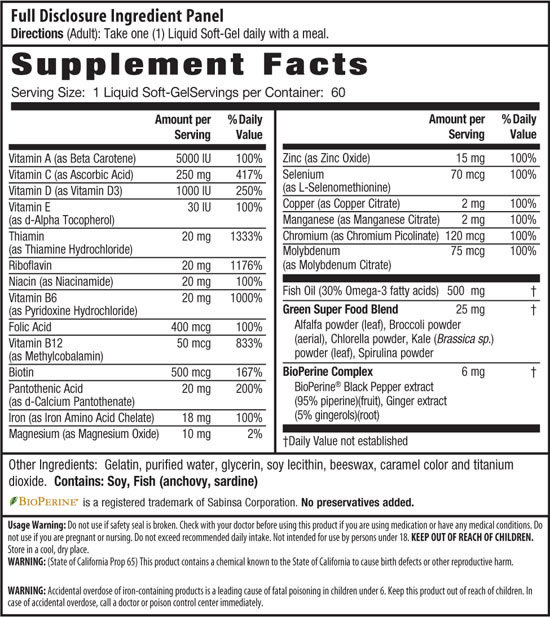 Irwin Naturals Only One Liquid-Gel Multi with Iron, Supplement Facts