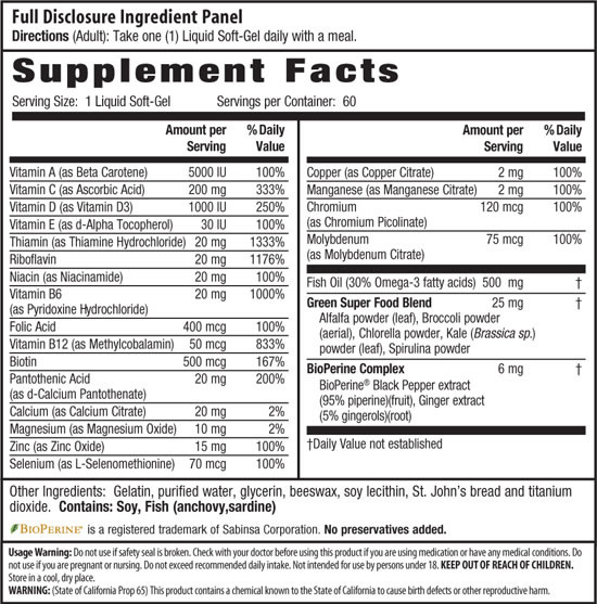 Irwin Naturals Only One Liquid-Gel Multi, Supplement Facts