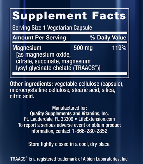 Life Exttension Magnesium Supplement Facts Panel