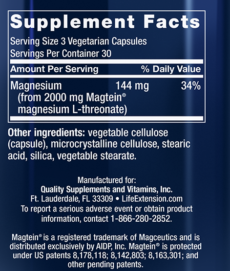 Neuro-Mag Magnesium Threonate Supplement Facts