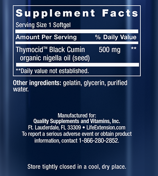 Black Cumin Seed Oil Supplement Facts