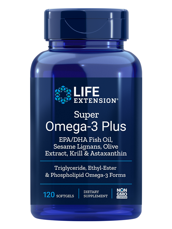 Life Extension Super Omega-3 EPA/DHA w/Sesame Ligans & Olive Extract, Krill/Astaxanthin, 120 Softgels