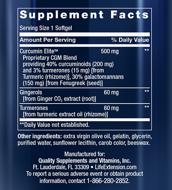 Advanced Curcumin Elite Supplement Facts