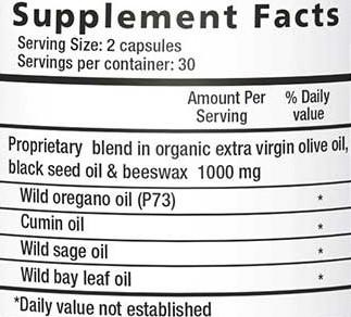 Oregabiotic, 60 caps, Supplement Facts