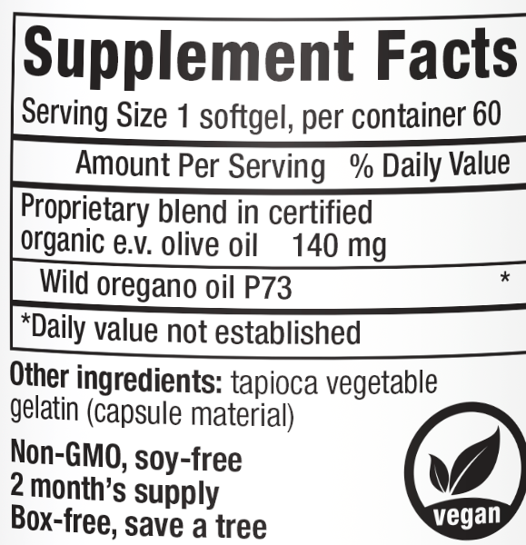 Oreganol P73, Oil of Oregano, 60 Softgels, Supplement Facts