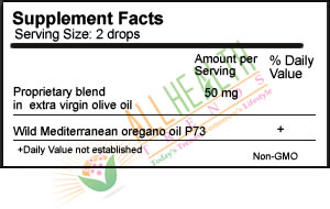 Oreganol P73, Oil of Oregano, .45 oz., Supplement Facts