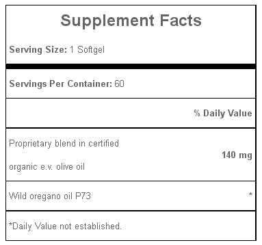 Oreganol P73, Oil of Oregano Super Strength 60 Softgels, Supplement Facts