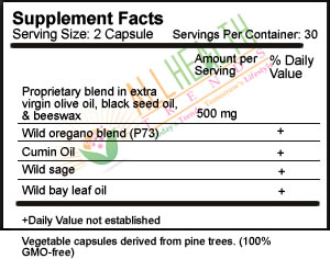 Oregabiotic, 60 caps, Supplement Facts