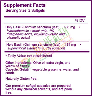 New Chapter Holy Basil, Supplement Facts
