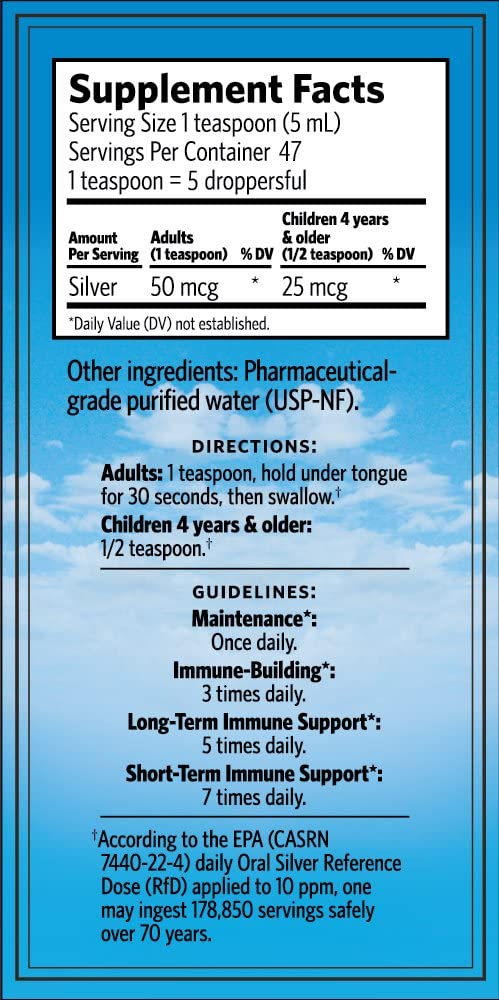 Sovereign Silver Supplement Facts