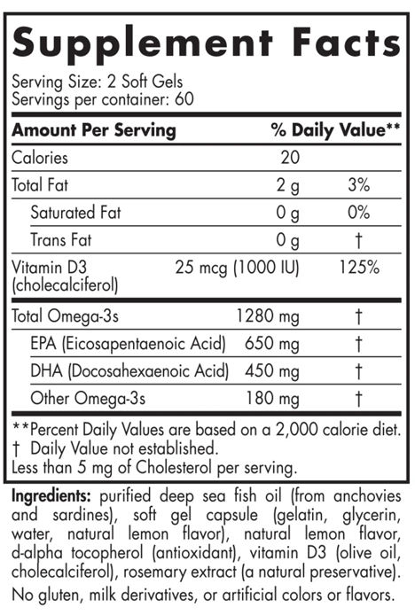 Nordic Naturals Ultimate Omega with Vitamin D Supplement Facts