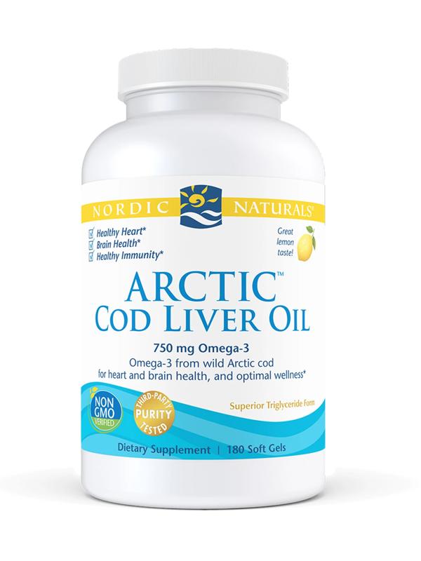 Nordic Naturals Arctic Cod Liver Oil 1000 mg, 180 Softgels
