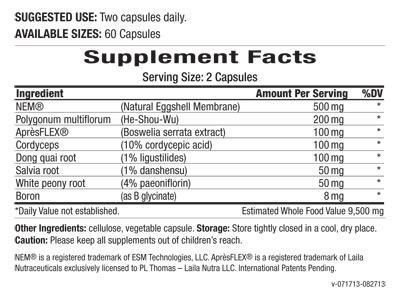 Supplement Facts Joint Essence