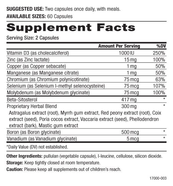 Pure Essence Labs Prostate Essence Supplement Facts