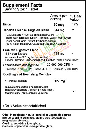 Candida Cleanse, Supplement Facts