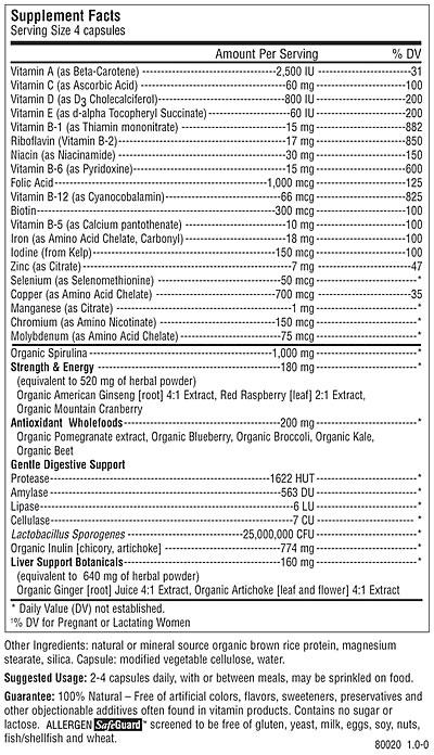 Rainbow Light Certified Organics Prenatal, Supplement Facts