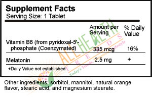 Source Naturals Melatonin Sublingual Orange, Supplement Facts